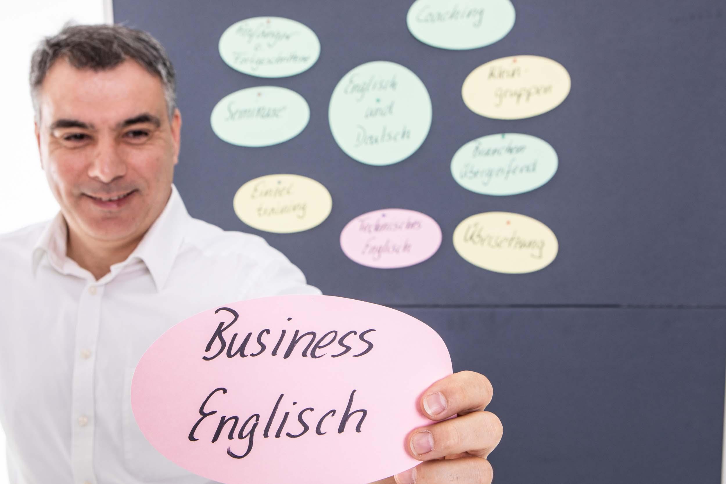 Pinnwand mit Karten für Business Englisch
