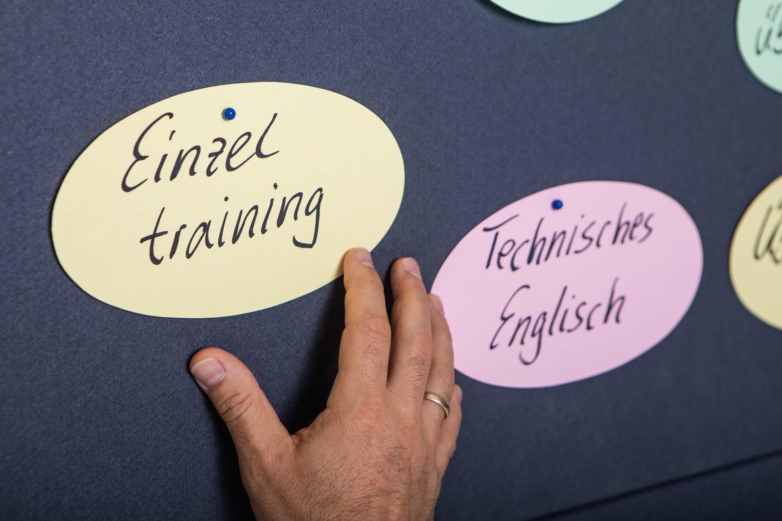 Pinnwand mit Karten für Englisch Kurse